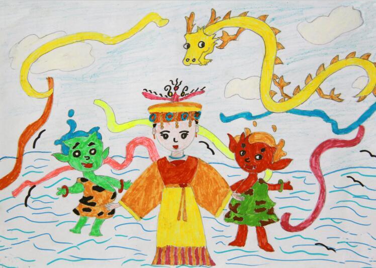 第二届我爱妈祖全球儿童画大赛一等奖作品: 妈祖女神和她的