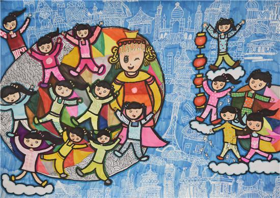 第三届我爱妈祖全球儿童画大赛获奖作品:《大爱妈祖传四海》  一等奖